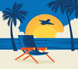 Wall Mural - travel poster with chair in beach landscape vector illustration design