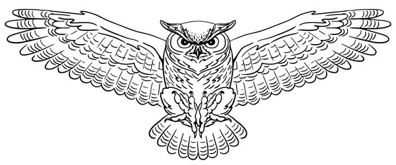 Swooping Great Horned Owl. Hand-drawn vector illustration. Line art.