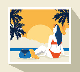 Wall Mural - travel poster with woman in beach landscape vector illustration design