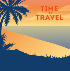 Wall Mural - travel poster with beach landscape vector illustration design