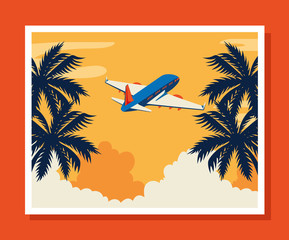 Wall Mural - travel poster with airplane flying and tree palms vector illustration design