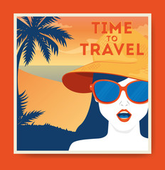 Wall Mural - travel poster with woman and summer landscape vector illustration design