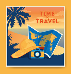 Wall Mural - travel poster with beach landscape and icons vector illustration design