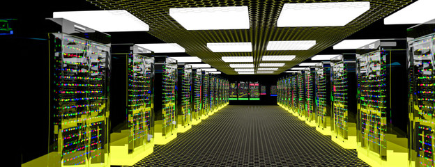 Servers. Server room data center. Backup, hosting, mainframe, farm and computer rack with storage information. 3d render Fotoväggar