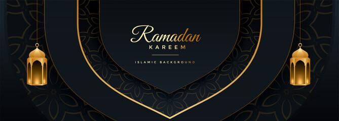 beautiful ramadan kareem black and gold banner design