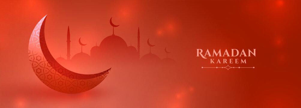 red ramadan kareem season festival banner design