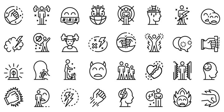 Rage icons set. Outline set of rage vector icons for web design isolated on white background