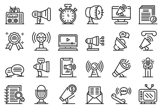 Announcer icons set. Outline set of announcer vector icons for web design isolated on white background