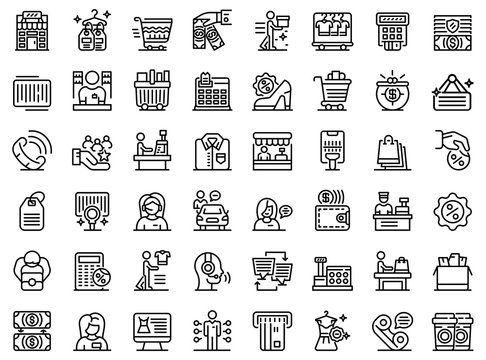 Shop assistant icons set. Outline set of shop assistant vector icons for web design isolated on white background