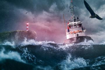 Poster La Mer du Nord Schiff Sturm Lechtturm Meer