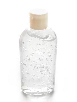 Antibacterial hand gel, sanitizer isolated on a white background. A means of protection against viruses.