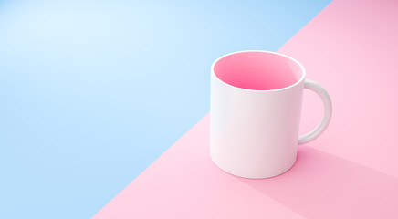 Classic white mug and pink inside on pastel summer background with blank template mockup style. Empty cup or drink mug. 3D rendering.