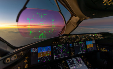 Sunset from the flightdeck of the Boeing 787