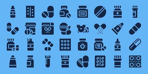 Modern Simple Set of aspirin Vector filled Icons