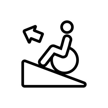 man up wheelchair icon vector. man up wheelchair sign. isolated contour symbol illustration