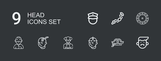 Editable 9 head icons for web and mobile