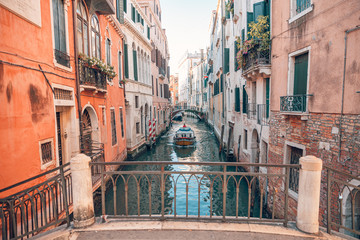 Gondola to parking in narrow canal, Venice. Italy landscape