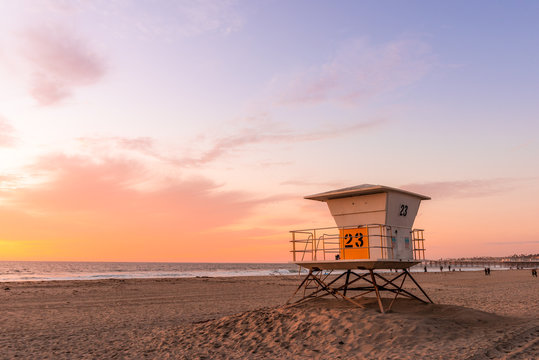 Lifeguard Tower on the beach at sunset
