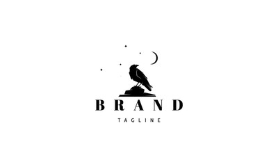 Vector logo on which an abstract image of a raven sitting on a stone under the moon.