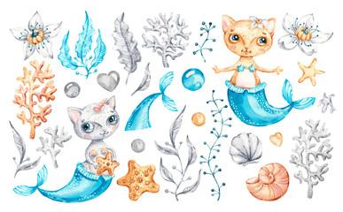 Cat mermaid unicorn Baby cute girl. Watercolor nursery cartoon sea animals, marine magic life. Adorable Nurseries mermaid set isolated on white background. Hand painted watercolour baby kitty clip art