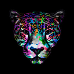 leopard head with creative abstract element on white background
