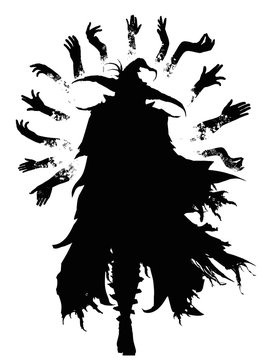 The black silhouette of a wizard in an acute-angled hat and a torn cloak, surrounded by magical hands flying in the air, he gracefully goes forward towards the viewer. 2d illustration