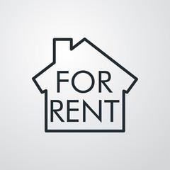 Icono plano lineal casa con texto FOR RENT en fondo gris