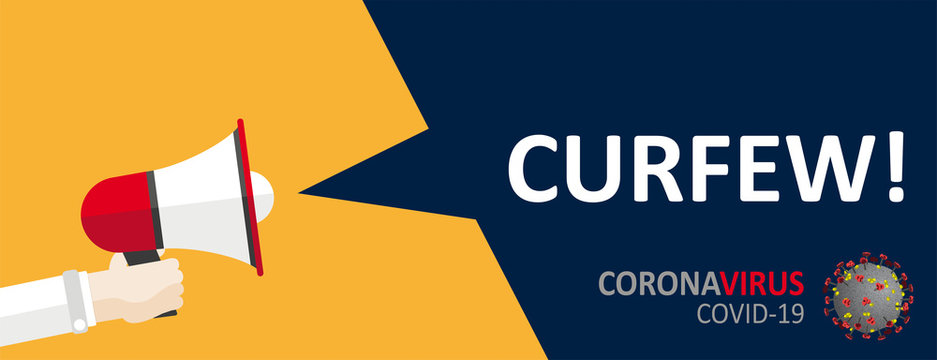 Hand Bullhorn Speech Bubble Coronvirus Curfew