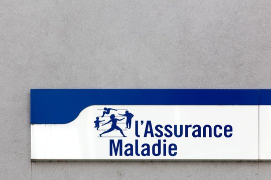 Firminy, France - August 17, 2016: French social security and Illness branch called Assurance Maladie sign on a wall