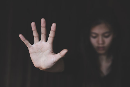 Women violence and abused concept. Stop violence against women, human trafficking.The concept of sexual harassment against women and rape. human rights abuses. international women's day.