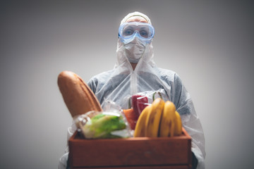 Food and groceries home delivery - quarantine and isolation during the virus outbreak.