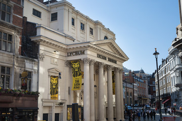 London, United Kingdom- June 2019: The Lyceum Theatre in the City of Westminster, on Wellington Street, London