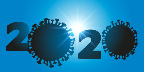 Concept de la catastrophe sanitaire mondiale avec la pandémie de coronavirus montrant deux silhouettes de microbe qui forment les zéros de l'année 2020.
