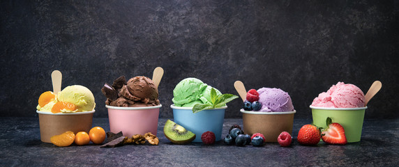 Various colorful ice cream in paper cup Wall mural