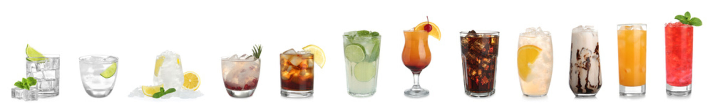 Set of different delicious cocktails with ice cubes on white background. Banner design