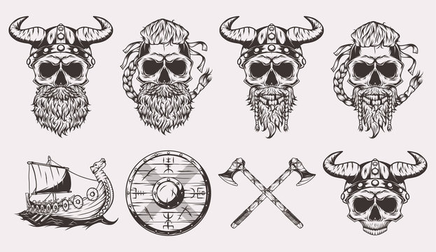Set of isolated illustrations of a Viking skulls, boat, shield and axes