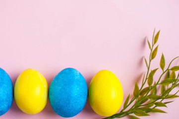 yellow and blue Easter eggs on a pink background. Text frame, free space for designers. Easter card with sprigs of greenery