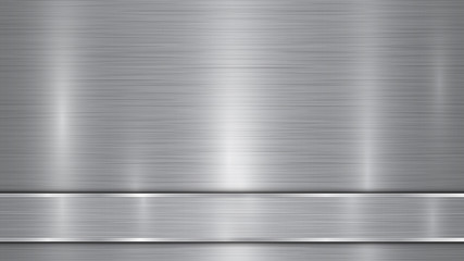 Background in silver and gray colors, consisting of a shiny metallic surface and one horizontal polished plate located below, with a metal texture, glares and burnished edges Wall mural