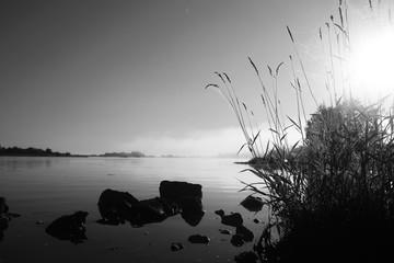 Fog in the lake. Morning nature water white fog.