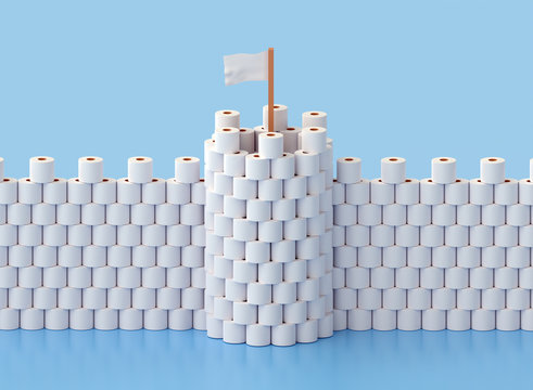 Building a fortress with tower out of toilet paper due to stress and fear from a coronavirus epidemic