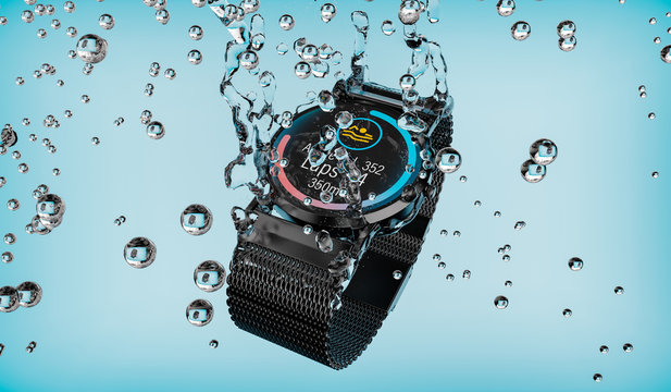 Smartwatch falls into the water with the swimming training app displayed