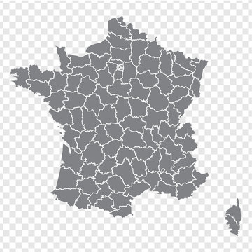 Blank map France. Departments of France map. High detailed gray vector map of France on transparent background for your web site design, logo, app, UI. Stock vector. EPS10.
