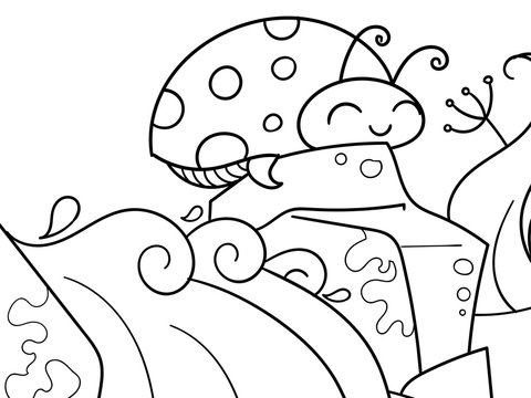 Coccinellidae. Children coloring. Black lines, white background. Insect, ladybug on a stone. Raster