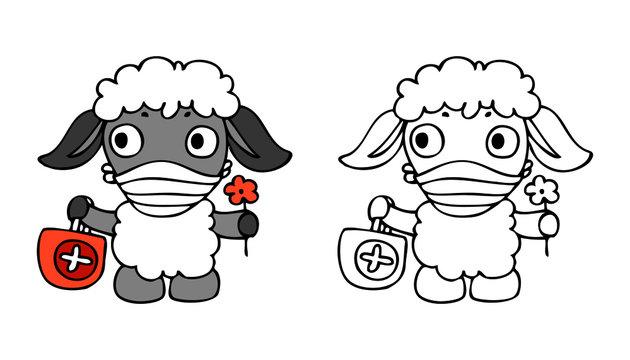 Sheep has wearing face mask. Cute illustration of sheep - doctor. Vector illustration for concept quarantine and illness treatment coronavirus. Illustration for pediatrician, pediatric ward hospital.