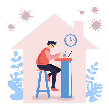 Work from home during outbreak of the COVID-19 virus. People work at home to prevent virus infection. Vector Illustration