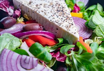 Fresh greek salad, close up