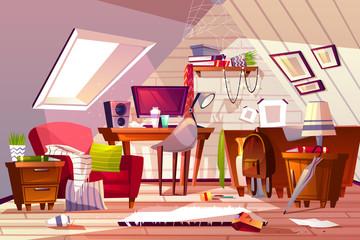 Messy room at garret attic vector illustration Wall mural