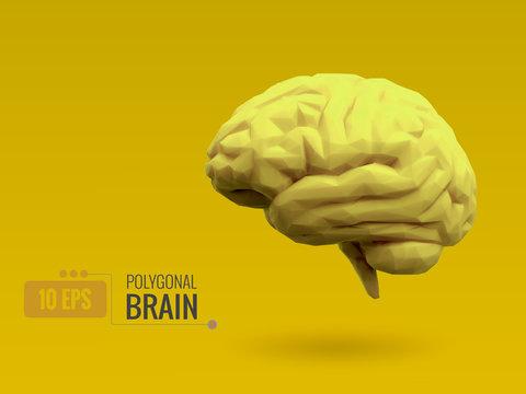 Low poly bright lemon yellow brain on yellow BG