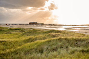 Dune landscape on the beach of St Peter-Ording