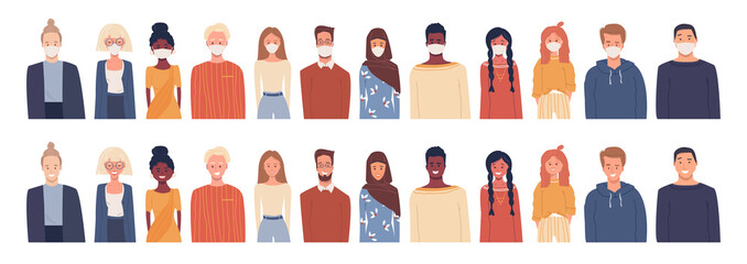 Set of vector illustrations in flat style isolated on white. Global society. Coronavirus epidemic. People wearing medical masks. Happy smiling healthy people of different nationalities, cultures